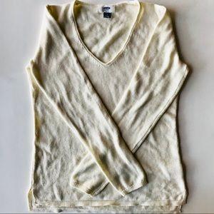 Old Navy Soft Lightweight Cream V-neck Sweater